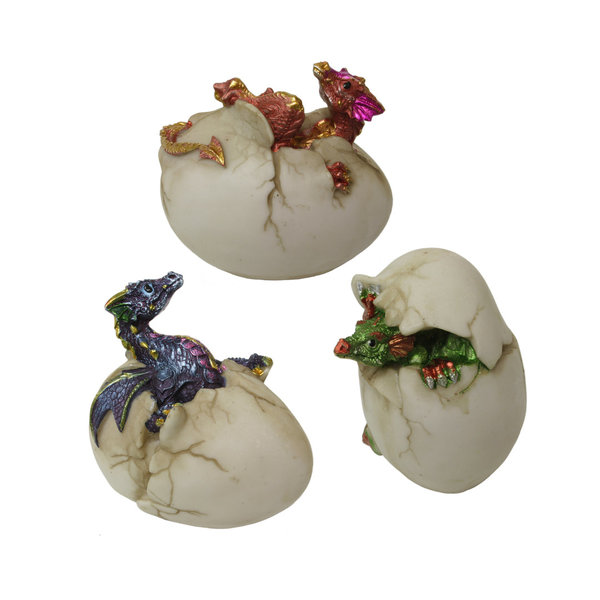Baby dragon hatching egg fantasy ornament set of 3