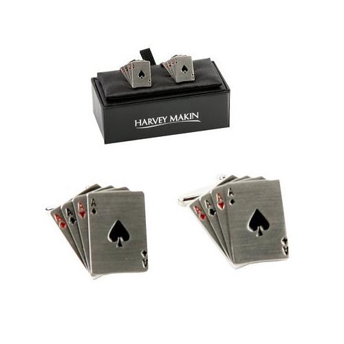 4 aces playing card designer cufflinks